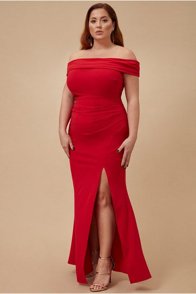 GODDIVA PLUS OFF THE SHOULDER MAXI WITH SPLIT - RED