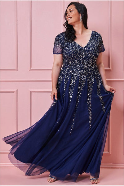 PLUS SIZE V-NECK FLUTTER SLEEVE SEQUIN AND CHIFFON MAXI DRESS - NAVY