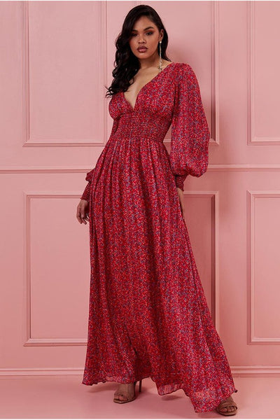 GODDIVA LONG SLEEVE FLORAL PRINT MAXI WITH SHIRRED WAISTBAND - RED