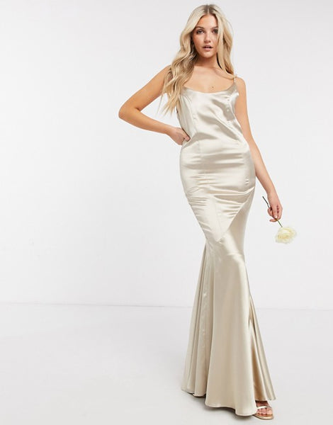 ASOS DESIGN Bridesmaid satin scoop maxi dress with panelled skirt and button back