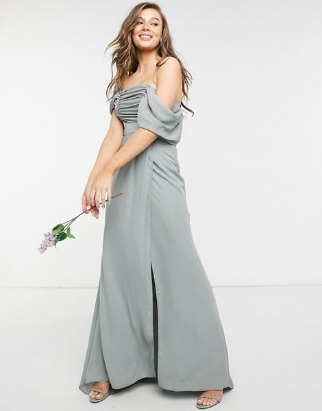 ASOS DESIGN Bridesmaid drape bodice maxi dress with fallen shoulder and button back detail