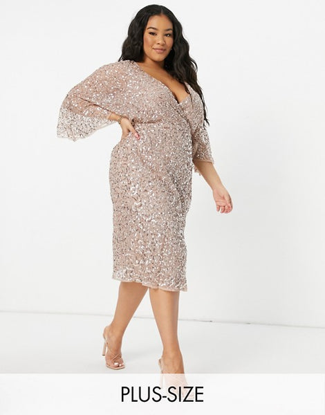 Maya Plus Bridesmaid delicate sequin wrap midi pencil dress in taupe blush