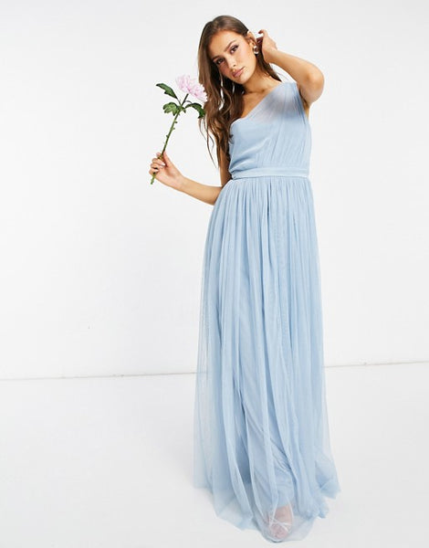 Anaya With Love Bridesmaid tulle one shoulder maxi dress in soft blue