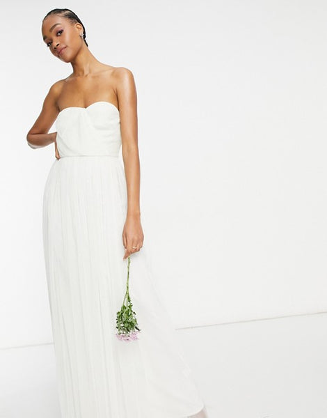 Anaya With Love Bridesmaid tulle bandeau maxi dress in white