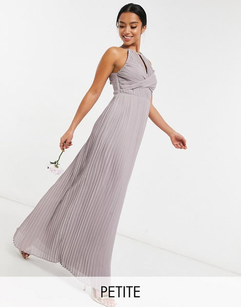 TFNC Petite bridesmaid pleated wrap detail maxi dress in grey