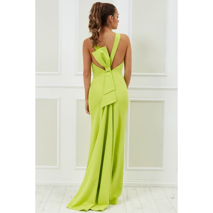 Vicky Pattison – Low Back Strap Bow Maxi Dress - Lime