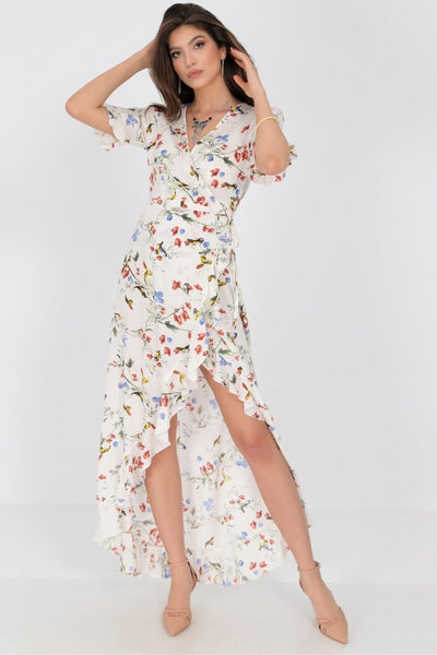 AIMELIA APPAREL DELICATELY PRINTED MAXI DRESS , WITH A WRAPOVER CUT.