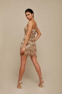 gold fringe mini dress