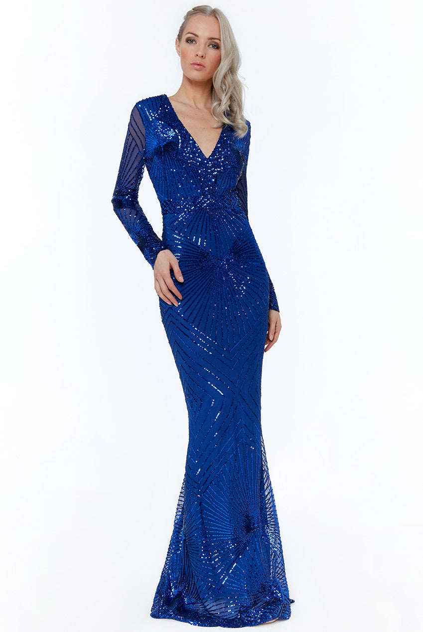 STARBURST EFFECT MAXI DRESS - ROYALBLUE