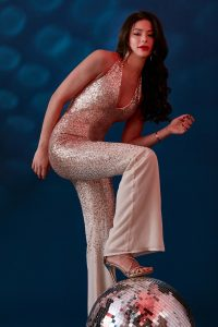 champagne sequin and chiffon jumpsuit