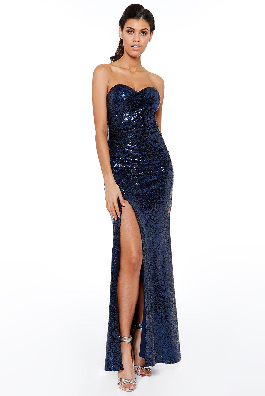 STRAPLESS SEQUIN SPLIT MAXI DRESS - NAVY