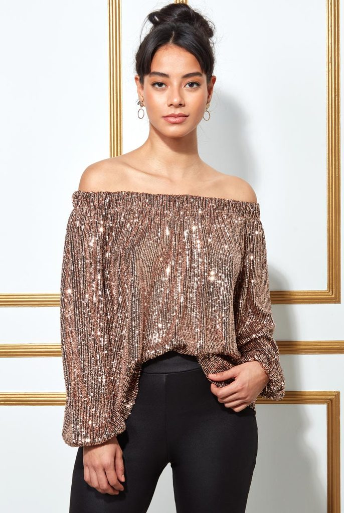 ODDIVA BARDOT SEQUIN CROP TOP WITH CUFFED SLEEVES - CHAMPAGNE
