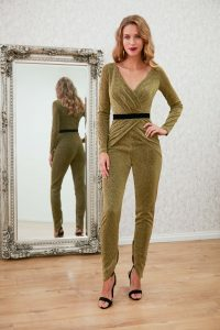 gold crossover jumpsuit