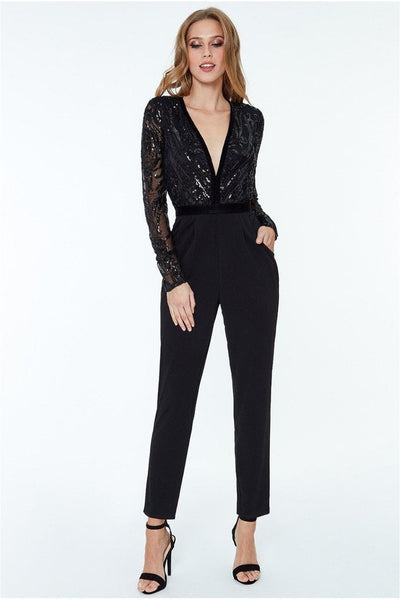 Black Jumpsuit Embroidered Top