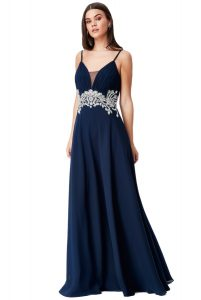 Embellished Strappy Maxi Dress in Navy