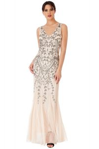 Nude Sequin Prom Dress