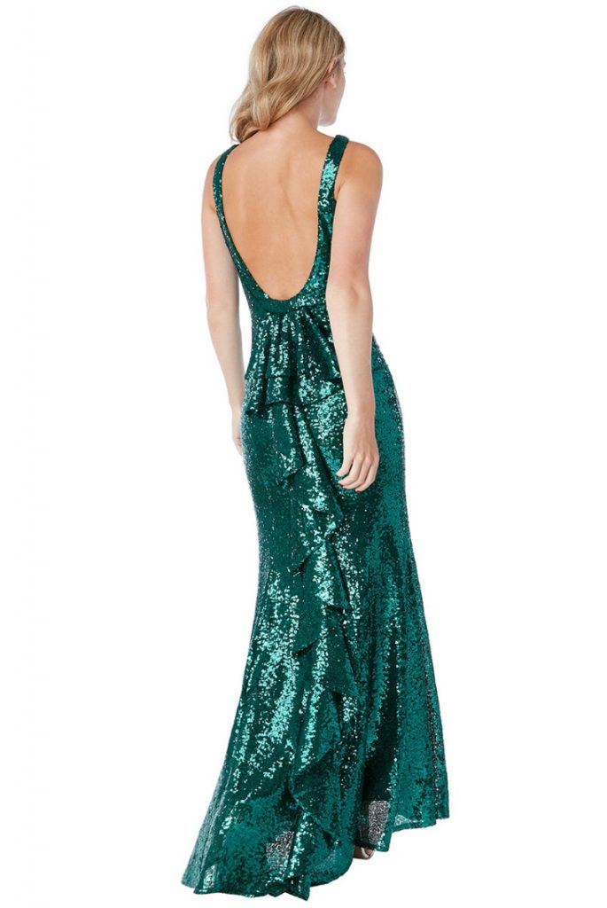 emerald green fishtail maxi dress