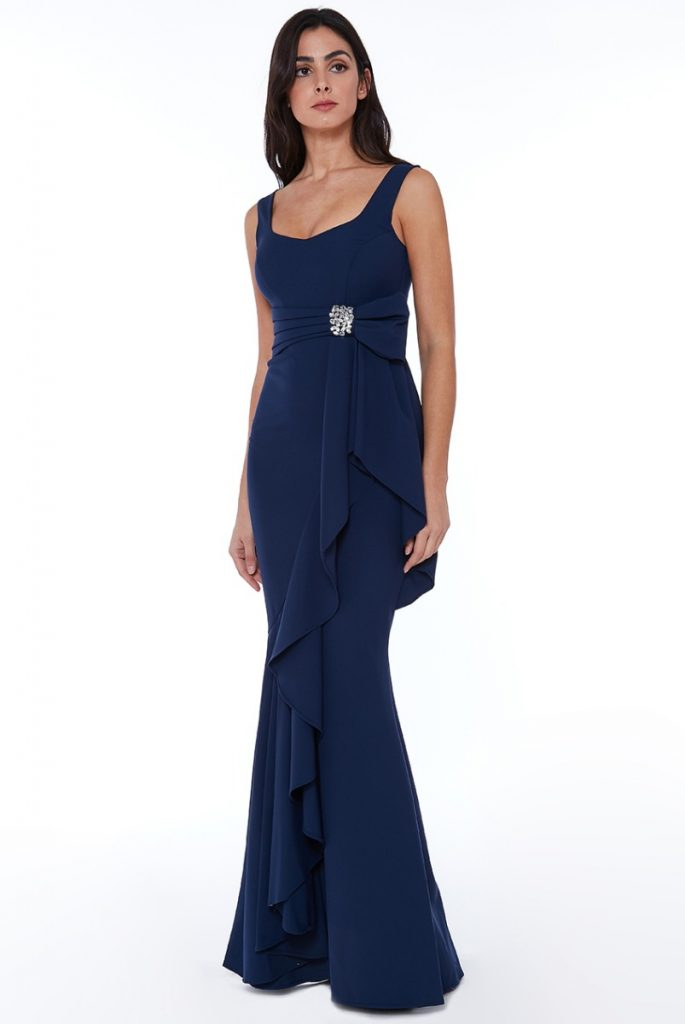 navy frill maxi dress