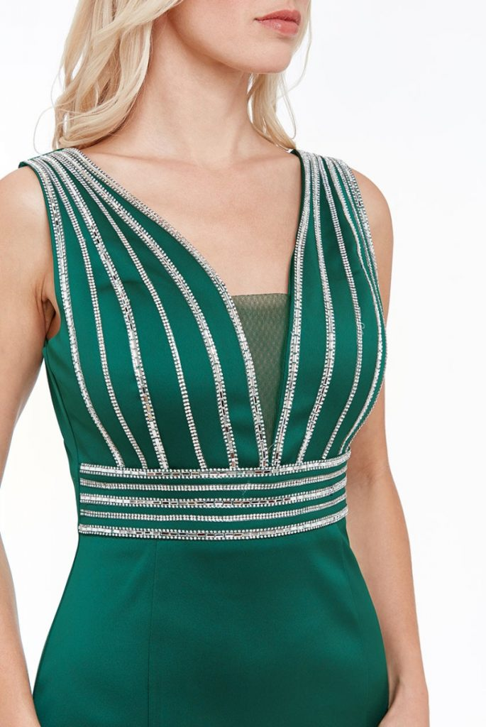 green stone work maxi dress