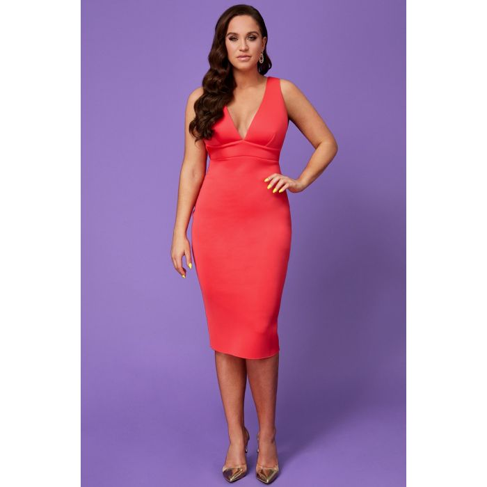 Vicky-pattison-back-strap-detailed-midi-dress-hot-pink