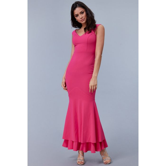 Goddiva-double-hem-frill-maxi-dress-cerise