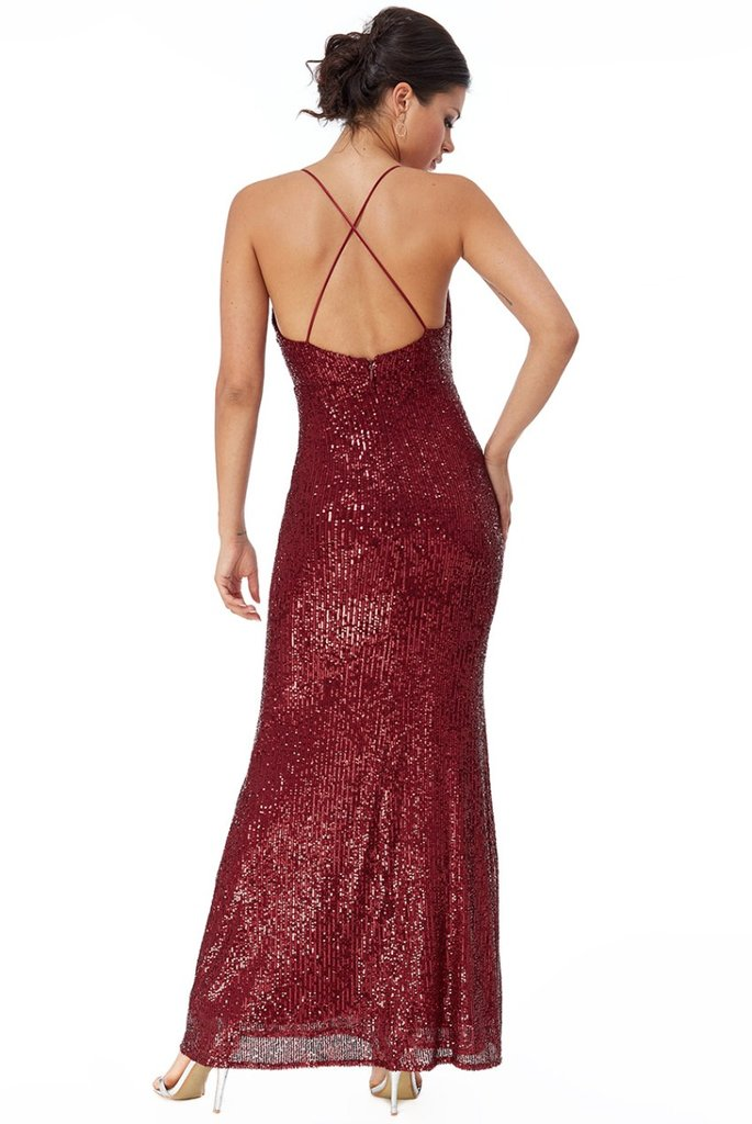 RELATED PRODUCTS GODDIVA SEQUIN CROSS STRAP MAXI DRESS - WINE