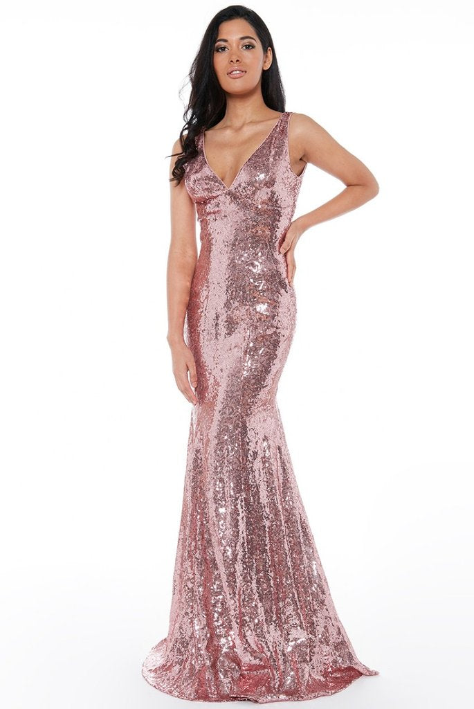 RELATED PRODUCTS SEQUINED LOW V NECK MAXI DRESS - ROSE