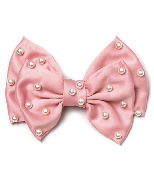 Pearls pink hair bow