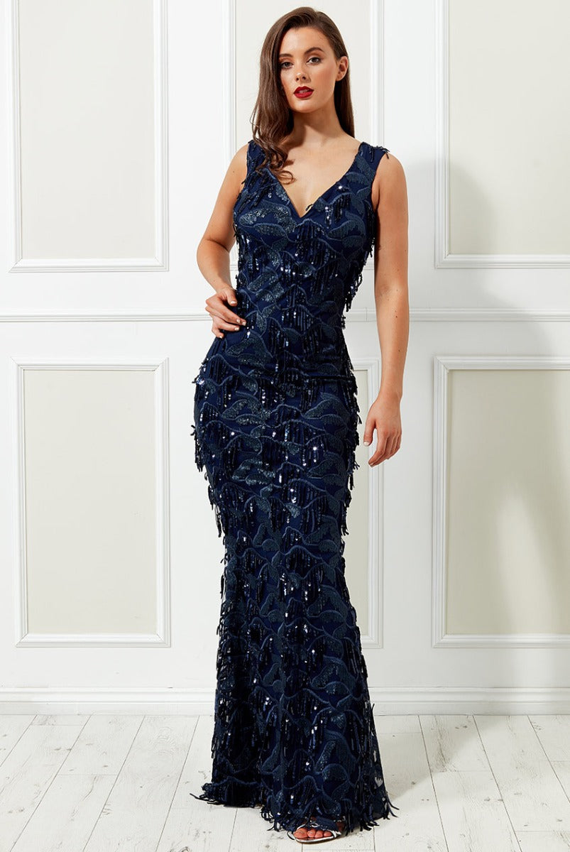 MESH AND SEQUINED FRINGE MAXI DRESS - NAVY