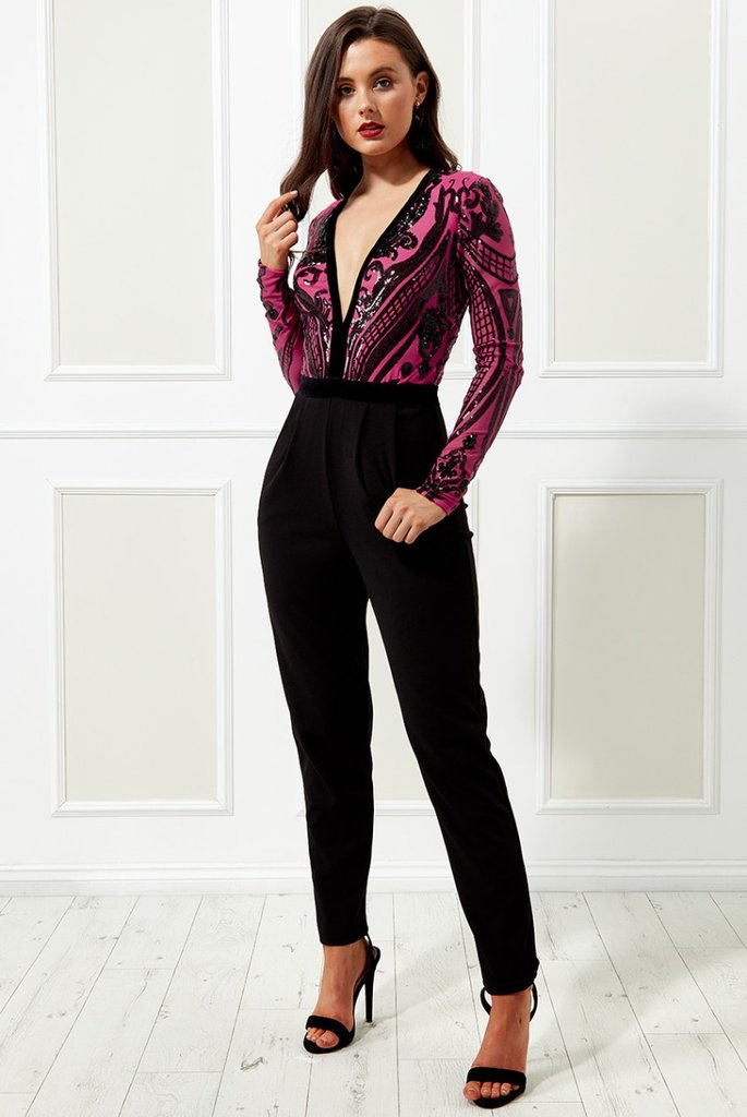 SEQUIN EMBROIDERED JUMPSUIT - CERISE