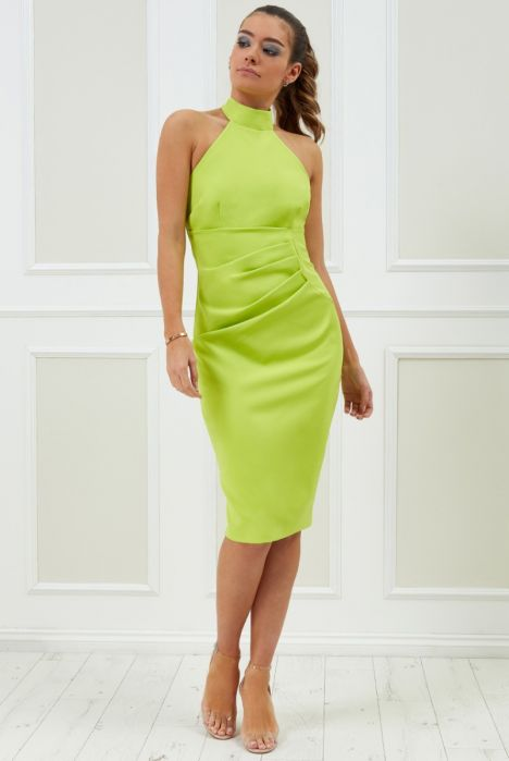 vicky-pattison-halter-neck-midi-dress-lime