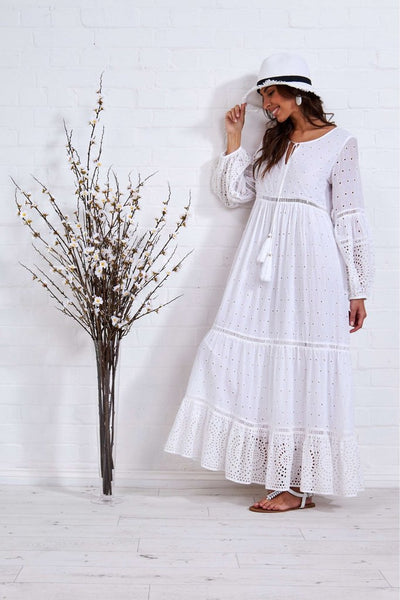 BLEUE BRODERIE ANGLAISE MAXI DRESS