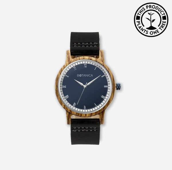 Black Leather Wooden Watch
