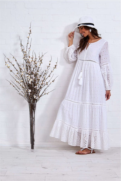 White Broderie Anglaise Maxi Dress