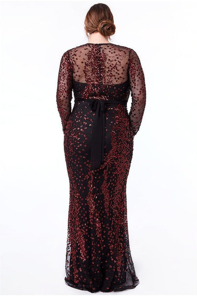 Plus Size Red Sequin Maxi Dress