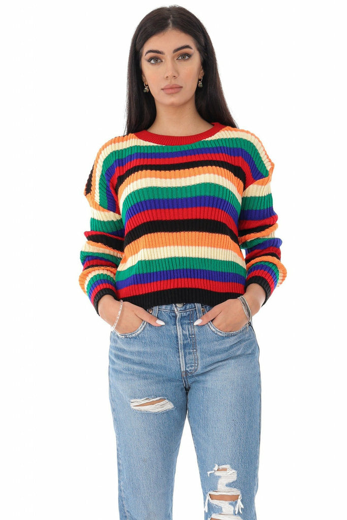 AIMELIA APPAREL MULTI-COLOURED STRIPED CROP JUMPER, £45