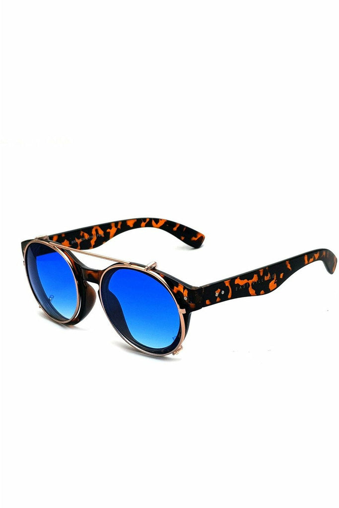 East Village 'Brawler' Round Sunglasses Tortoiseshell And Metal With Blue Lens