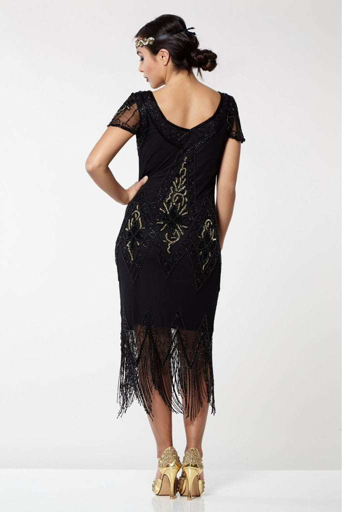 Annette Vintage Inspired Fringe Flapper Dress Gatsbylady London