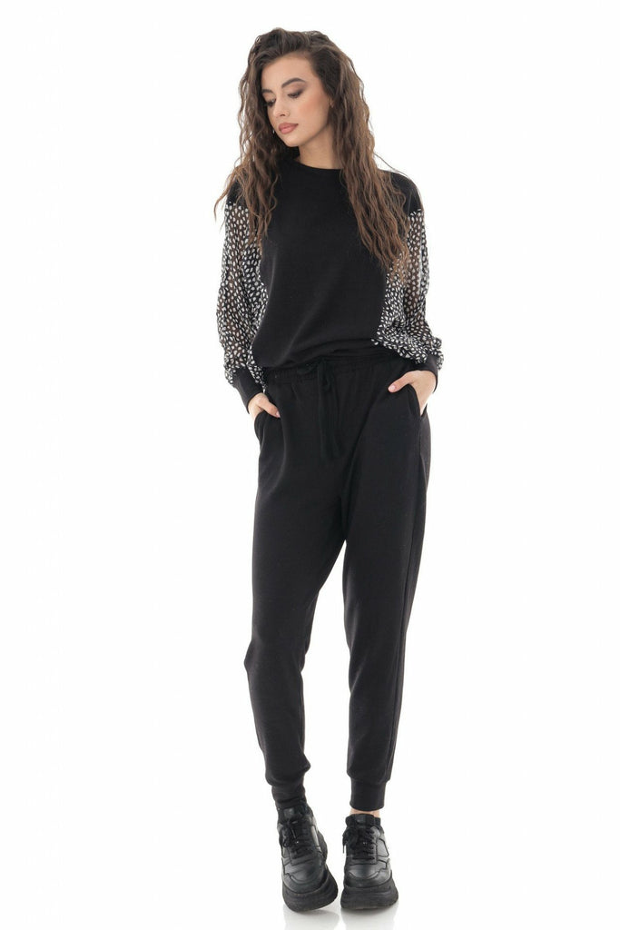 Aimelia Apparel LADIES SHEER PANEL LOUNGEWEAR SET IN BLACK