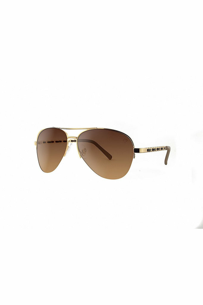 RubyRocks Metal 'New York' Aviator With Fabric Braid Detail Temple in Gold