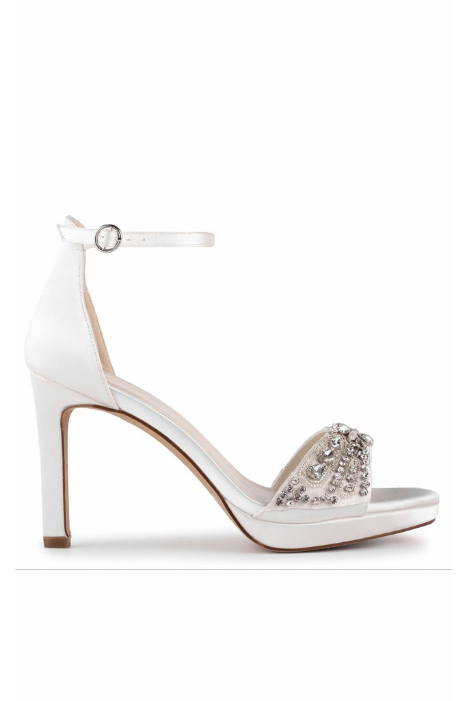 Enya - Ivory Satin High Heel Platform Ankle Strap Sandal Paradox London