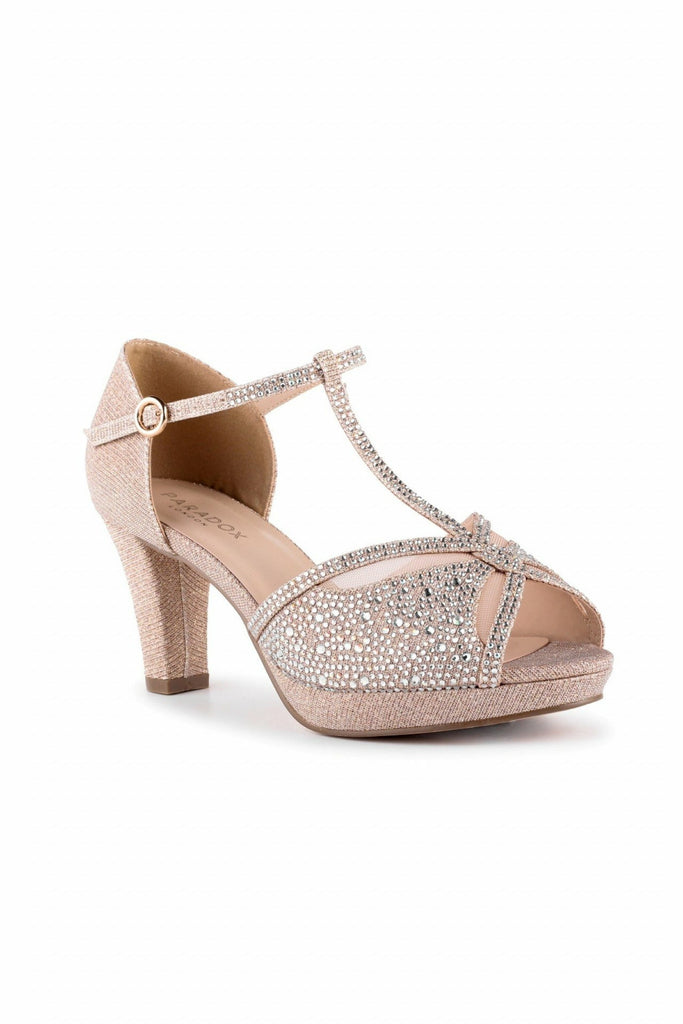 Nora - Champagne Glitter Wide Fit Platform T-bar Sandals Paradox London
