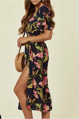 Madam Rage Angel Sleeve Midi Dress in Navy and Pink