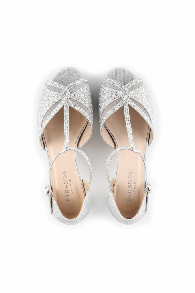 Nora - Silver Glitter Wide Fit Platform T-bar Sandals Paradox London