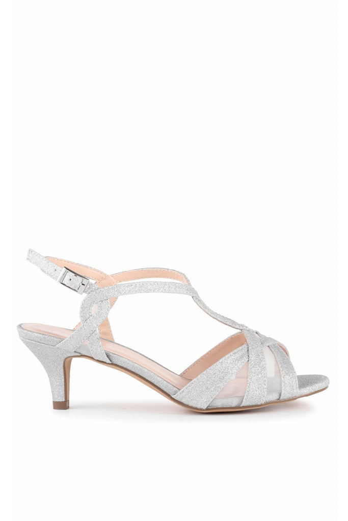 Nelly - Silver Glitter Wide Fit Low Heel T-bar Sandals Paradox London