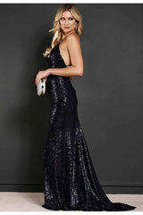 "Revie London Navy Sequin Maxi Dress ""Jayne"""