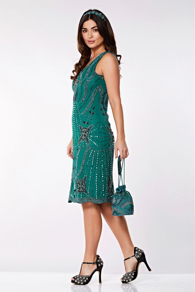 Diana Flapper Dress- Teal Gatsbylady London