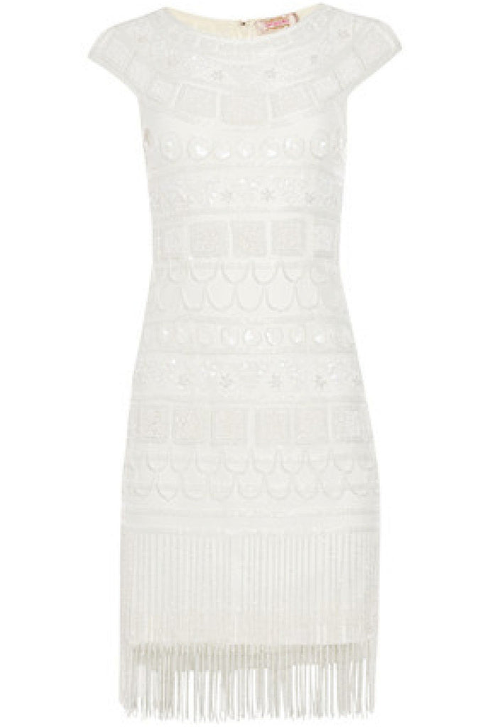 Beverley Vintage Inspired Fringe Flapper Dress - White Gatsbylady London