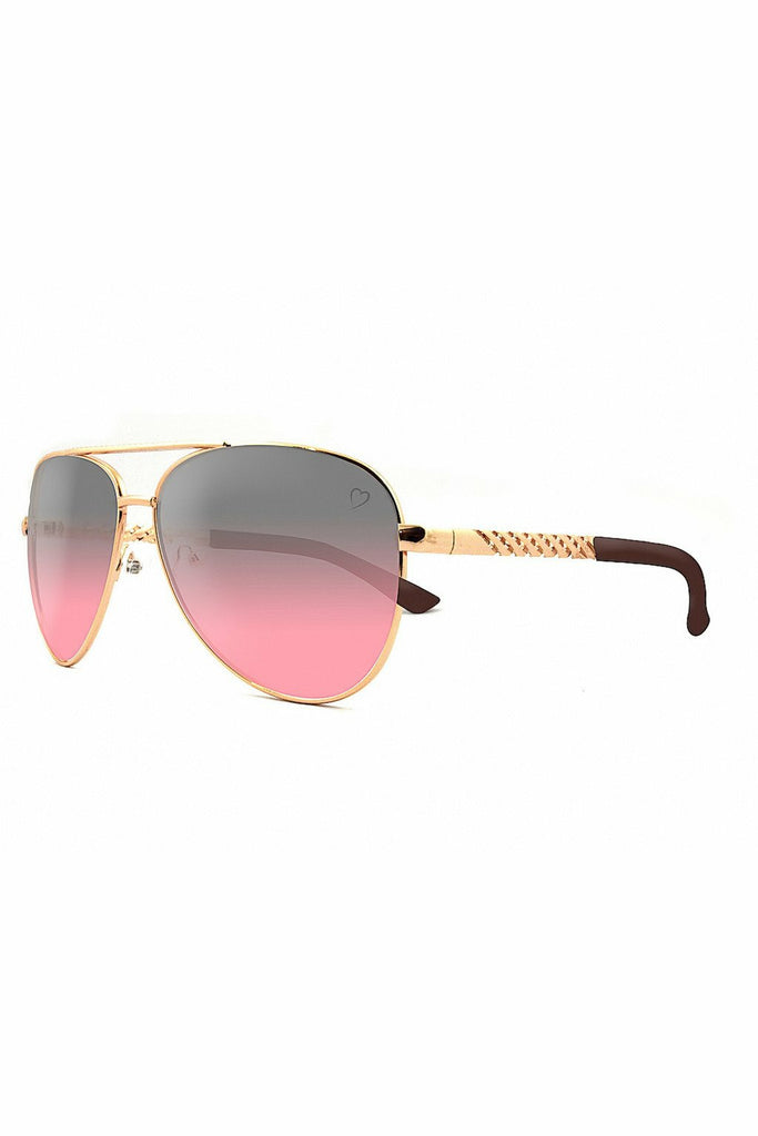 RubyRocks Metal 'Dominica' Aviator With Embossed Temple in Gold