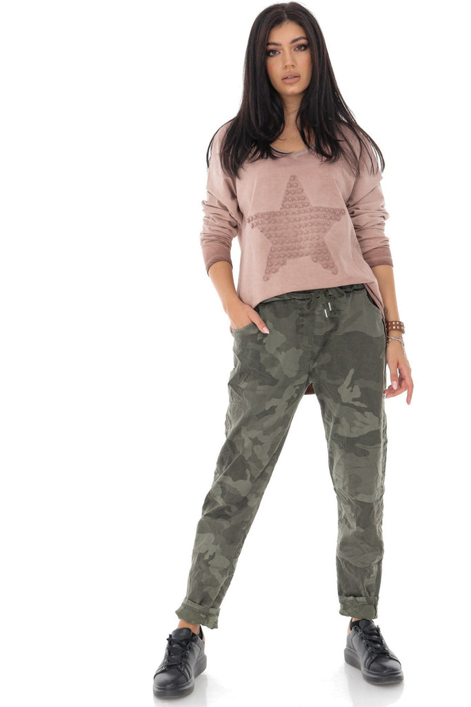 On trend camo pants in a heavy weight fabric Aimelia Apparel